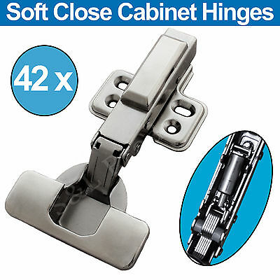 42 x Concealed Soft Close Cabinet Hinges Full Overlay Clip on Cupboard Hydraulic
