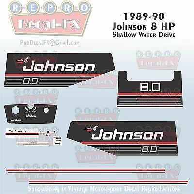 1989-90 Johnson 8 HP Shallow Water Drive Outboard Reproduction 11Pc Vinyl Decals