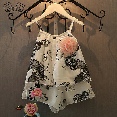 Toddler Girls Kids Summer Floral Shirt Vest+Shorts 2pcs Outfits Set age 2-7Y