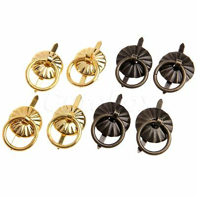 4/12pcs Vintage Pull Handle Ring Knobs For Jewelry Box Dresser Cabinet Drawer