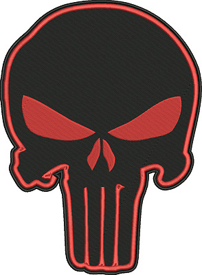 Punisher Skull Embroidered 12 Inch Red/blk  Mc Biker Patch