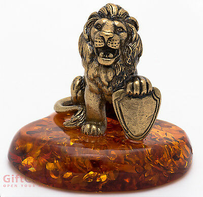 Solid Brass Amber Figurine Lion with Shield IronWork