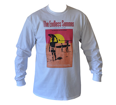 T Shirt Long Sleeve Endless Summer Surf Movie Mens White All Sizes S To 3Xl
