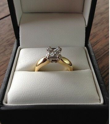 0.94 ct Princess Cut Diamond Engagement Ring. 18K Yellow/White Gold by Camelot.