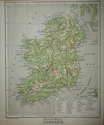 Physical Map of Ireland. Raised relief c1880 by Sonnenschein