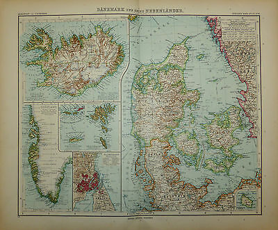 c1909 Map Denmark & Iceland by Adolf Stieler, engraved by E Kuhn