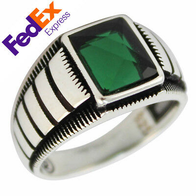 925 Sterling Silver Turkish Handmade Emerald Ottoman Men's Ring Gift for Him