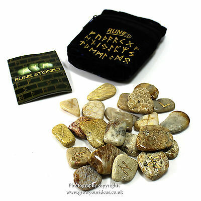 RUNE STONES | CORAL FOSSIL | GEMSTONE | including free pouch and beginners guide