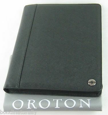New Oroton Black Melanie A4 Folio Business Meeting Folder Organiser Leather $295