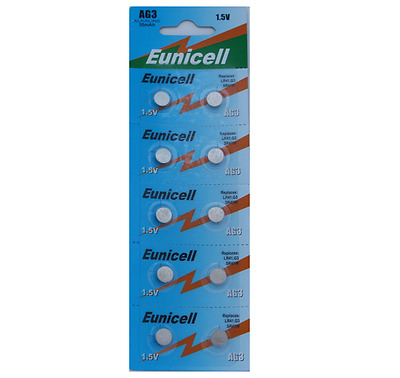 10 X EUNICELL AG3, LR41, SR41W 1.5v ALKALINE COIN/BUTTON BATTERY