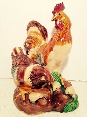Ceramic Rooster Hen Chicks Zodiac Statue Figurine Country Farm Home Decor