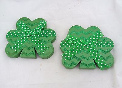 Country Primitive Table Sitter Wood Shamrock Cut Out St Patrick's Day Irish Set