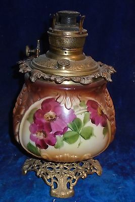 Amazing Antique  Parker Center Draft Oil Lamp With Chocolate Glass Base 1890's