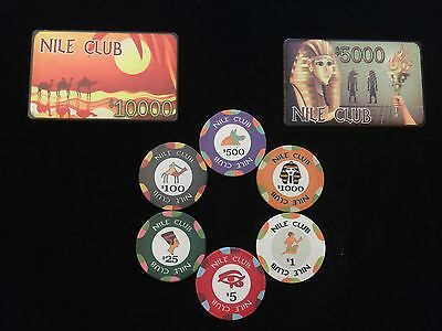 Nile Club Poker Chip & Plaque SAMPLE SET. Try before you buy! ONLY 3 SETS LEFT!