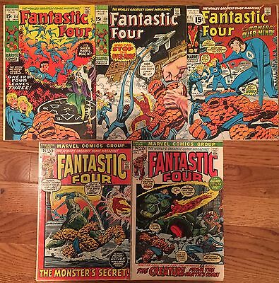 5 Fantastic Four ( Series 1 ) # 110 114 115 125 126 Marvel Comics Fine Lot