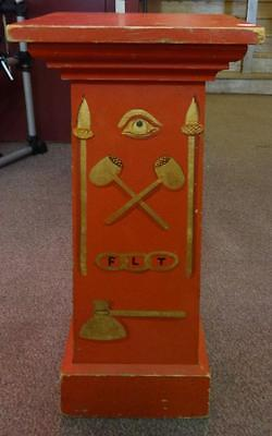 Rare Vibrant Painted Odd Fellows Lodge Pedestal Red/Gold Letters & Symbols