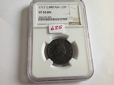 1717 Great Britain Half Penny NGC VF 30 Brown