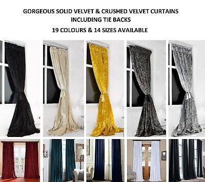 Designer Pencil Pleat Crushed & Solid Velvet Curtains, Heavy Weight, Free Post