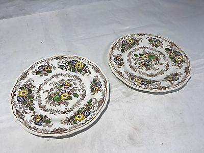 """2 x 9"""" Apple Blossom Ridgway England Dinner Plates - Lovely Condition"""
