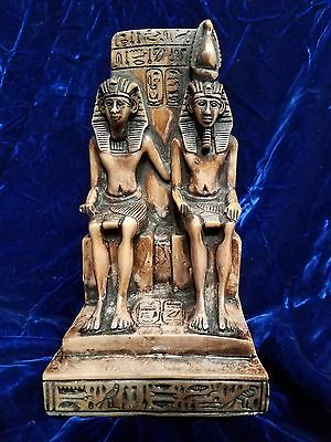 "Egyptian King & Queen Pharoah Statue On Throne Bookend Made In Egypt 8 1/2"" Tall"