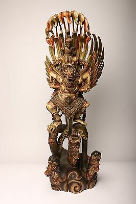 ANTIQUE BALINESE HAND CARVED WOOD GARUDA STATUE Vishnu Bali Indonesia 19th C.