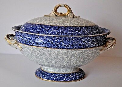Antique Royal Worcester Soup Tureen Blue