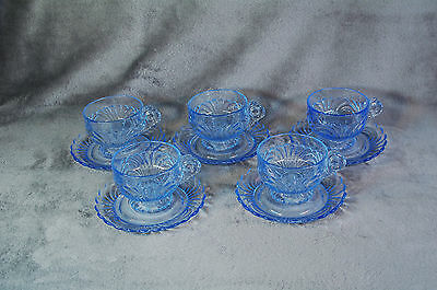 (5) Cambridge Glass Moonlight Blue Caprice Cups and Saucers
