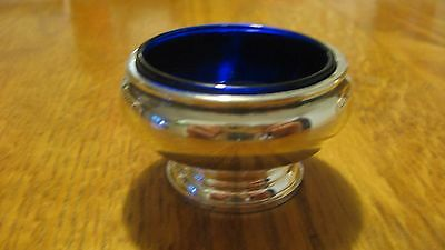 Gorham Sterling Silver Cobalt Glass Salt Cellar