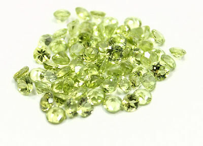 20.48 Carats Of 4 Mm Colourful Round  Cut Peridot