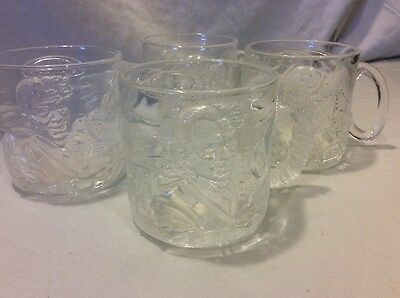 """Set of 4 McDonald's Batman Forever """"Riddler"""" and """"Two-Face"""" Glass Mugs / Cups"""