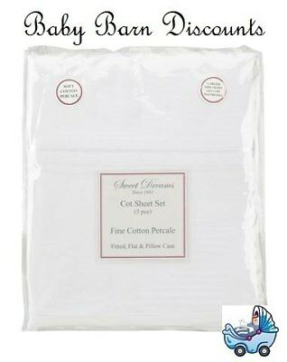 NEW Sweet Dreams - Cot Sheet Set - White from Baby Barn Discounts