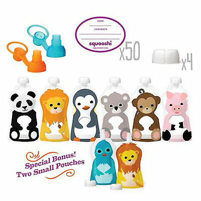 Squooshi Reusable Pouches New Family Starter Kit with  6 ounce pouches