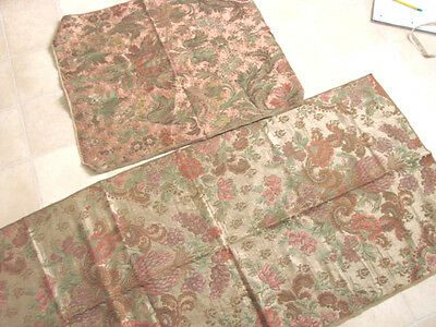 Vintage 30s Fabric LOT 2 Brocade Floral Pineapple Grapes Upholstery METALLICS