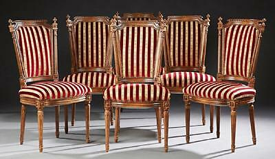 Set of Six French Carved Beech Louis XVI Style Dining, early 1900s