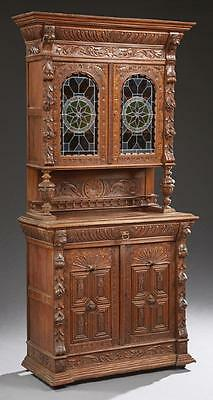 Continental Carved Oak Jacobean Style Buffet a Deux 19th century ( 1800s )