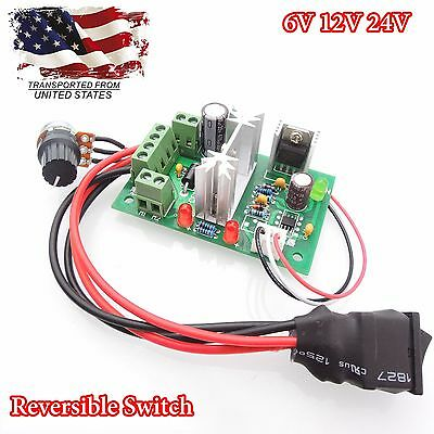 PWM 6V 12V 24V DC Motor Speed Controller Reversible Switch Adjustable Regulator