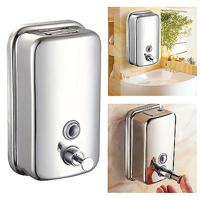 Bathroom Stainless Steel Soap/Shampoo Dispenser Lotion Pump Action Wall Mounted^