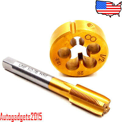 "1/2""-28 Tap and Die Set TiN Coated Tap RH Thread NEW LIFETIME WARRANTY"