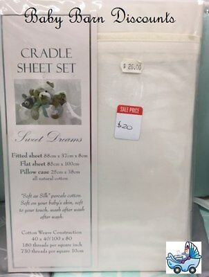 NEW Sweet Dreams - Cream  - Cradle Sheet Set - 88 x 37 from Baby Barn Discounts