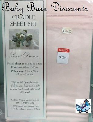 NEW Sweet Dreams - Pink Cradle Sheet Set - 88 x 37 from Baby Barn Discounts