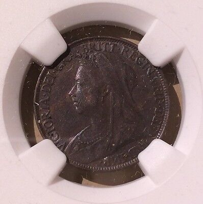 Great Britain (UK) Farthing 1901 NGC AU 50 BN - Blackened At Mint 1/4 Penny