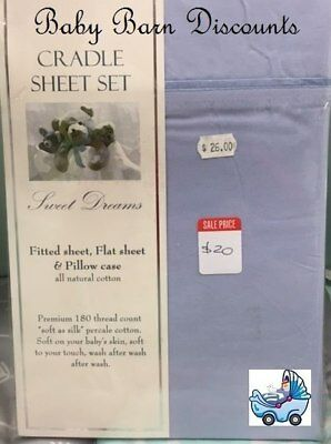 NEW Sweet Dreams - Blue - Cradle Sheet Set - 88 x 37 from Baby Barn Discounts