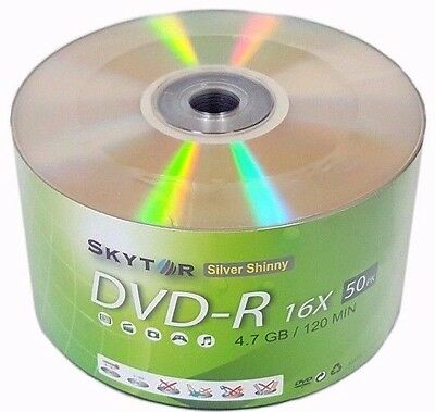 500 Blank SKYTOR DVD-R DVDR 16X Silver Shiny Top 4.7GB Media Disc - Expedited