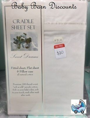 NEW Sweet Dreams - White - Cradle Sheet Set - 88 x 37 from Baby Barn Discounts