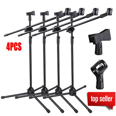 4 Pack Microphone Boom Arm Stand Tripod Holder Mic Clip Adjustable Height Mount