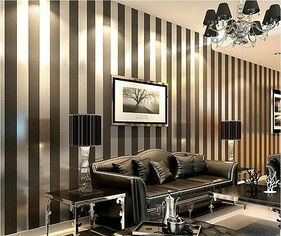 Home Black Contemporary And Contracted Fashionable Stripe Non-Woven Wallpaper