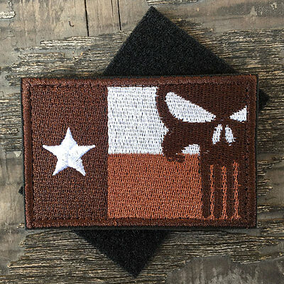 State of Texas Flag Punisher Skull USA Army Tactical Morale Subdued Badge Patch