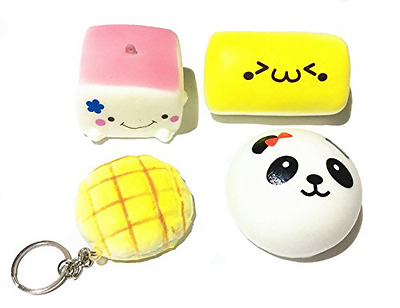 DoTebpa 4 Pack Slow Rise Squishy Charms Tofu Smiley Face Loaf Panda Melon Pan