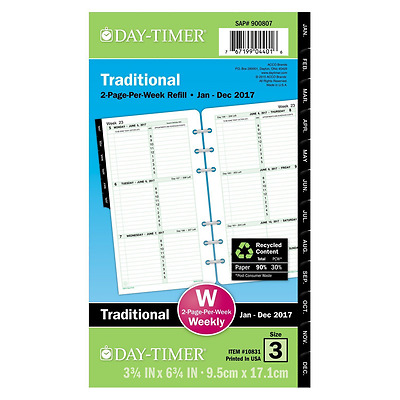 Day-Timer Weekly Planner Refill 2017, Two Page Per Week, Loose Leaf, 3-3/4 x 6-3