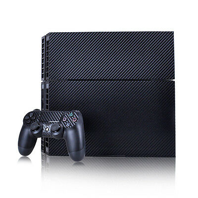 Black Carbon Fiber Vinyl Skin Sticker Cover for Sony PS4 Slim PlayStation 4 SLIM